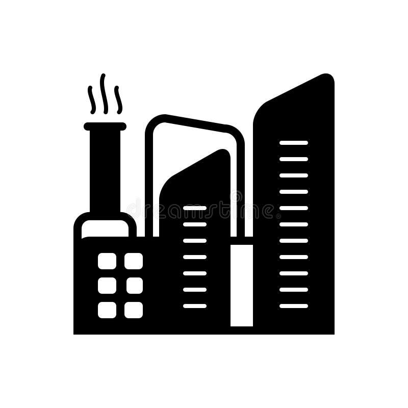 Icône solide noire pour l'usine, la fabrication et le bâtiment illustration libre de droits