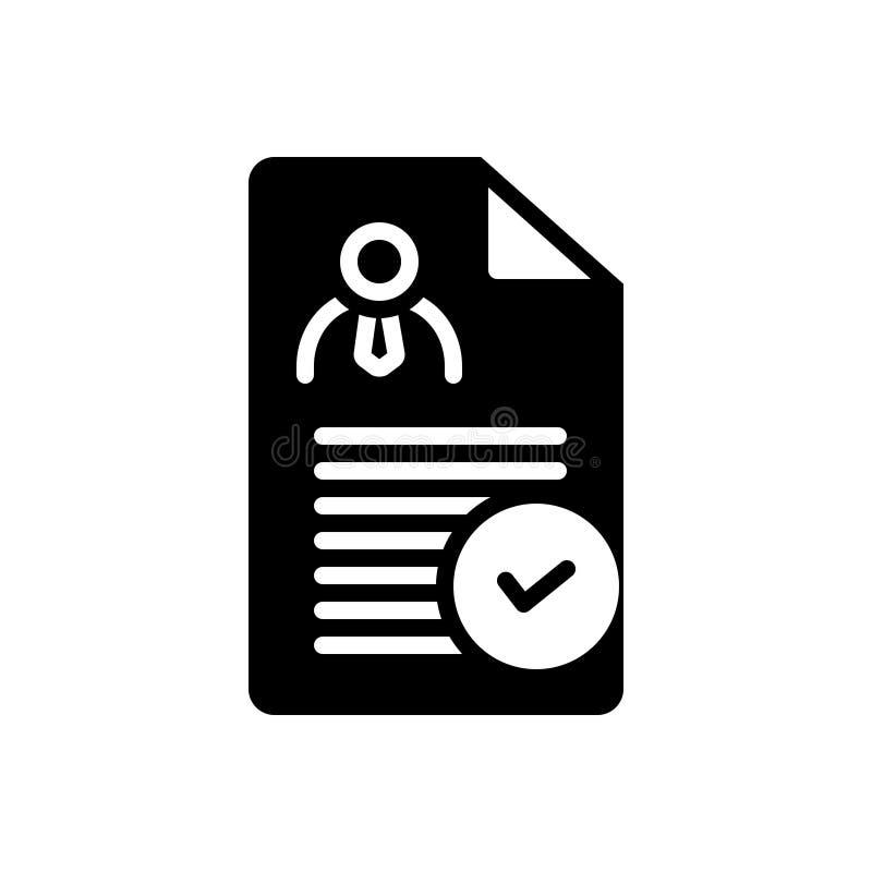 Icône solide noire pour la détermination, le contrôle et approuvé illustration libre de droits