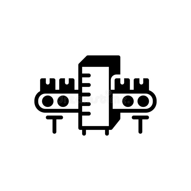 Icône solide noire pour la fabrication, la fabrication et la production illustration de vecteur