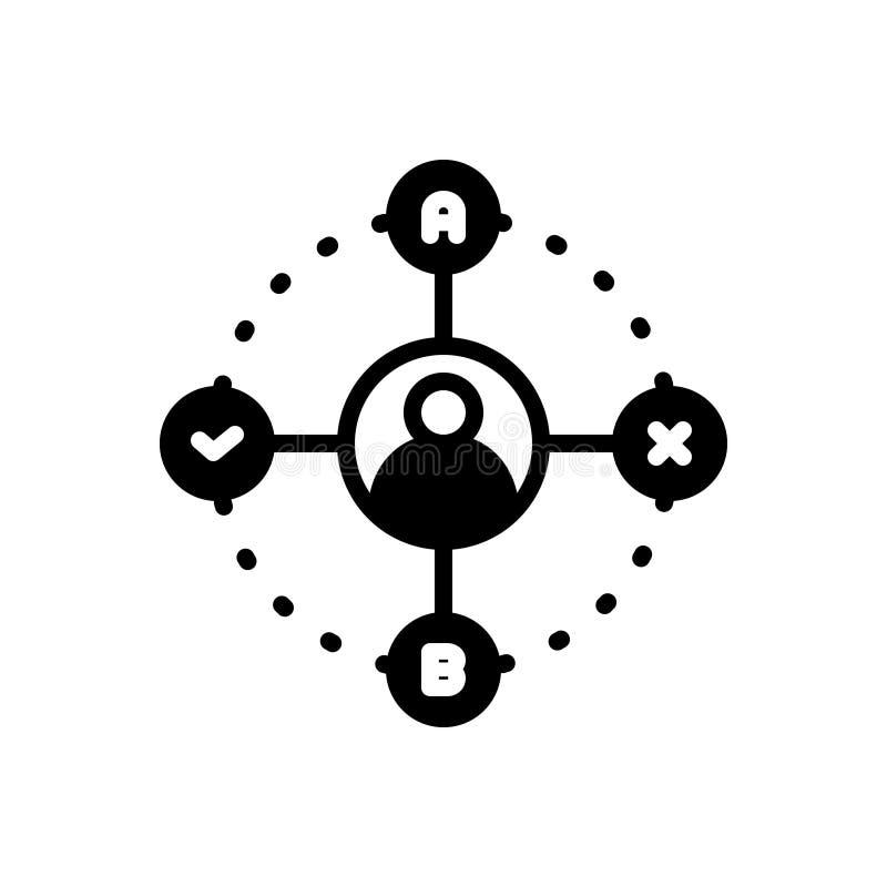 Icône solide noire pour la prise de décision, le concept et les affaires illustration de vecteur