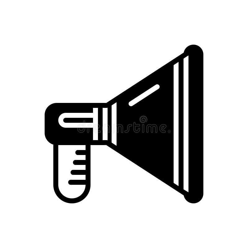 Icône solide noire pour la promotion, le haut-parleur et le mégaphone illustration libre de droits