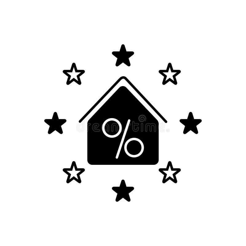 Icône solide noire pour la propriété, la remise et l'exemption de concession illustration de vecteur