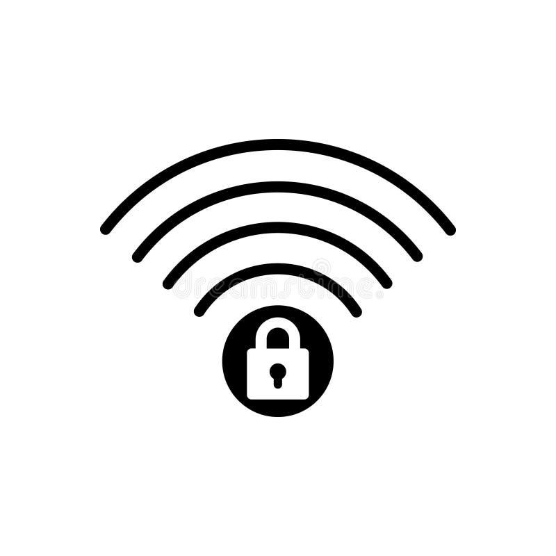 Icône solide noire pour la sécurité, le pare-feu et l'antivirus de Wifi illustration stock