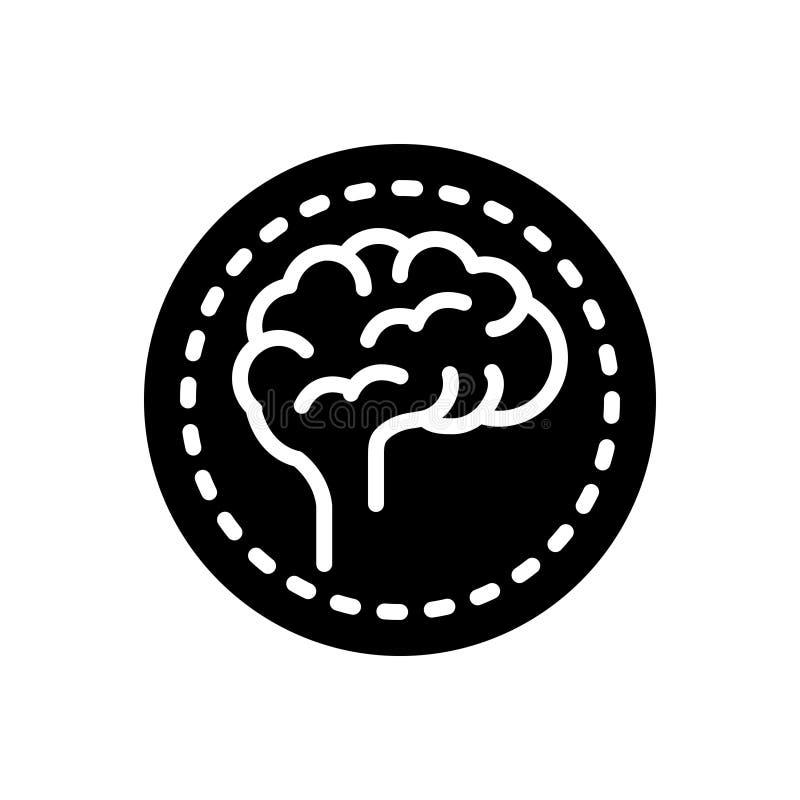 Icône solide noire pour le cerveau, le lavage de cerveau et l'esprit illustration libre de droits