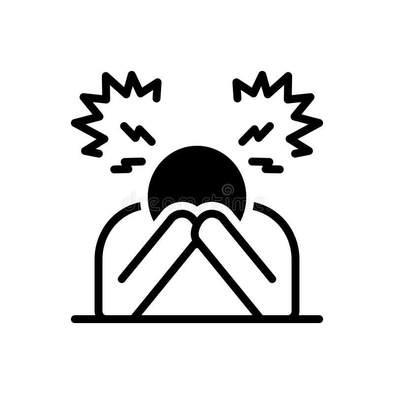 Icône solide noire pour le désespoir, la déception et la frustration illustration stock