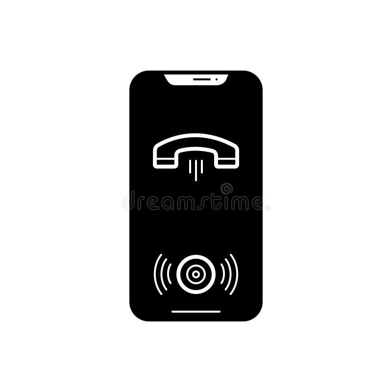 Icône solide noire pour le faire appel au haut-parleur, à la main librement et au smartphone illustration stock