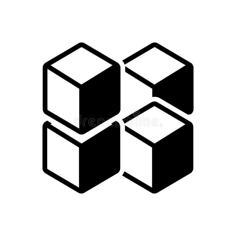 Icône solide noire pour le graphique de cube des places, de la technologie et du polygone illustration libre de droits