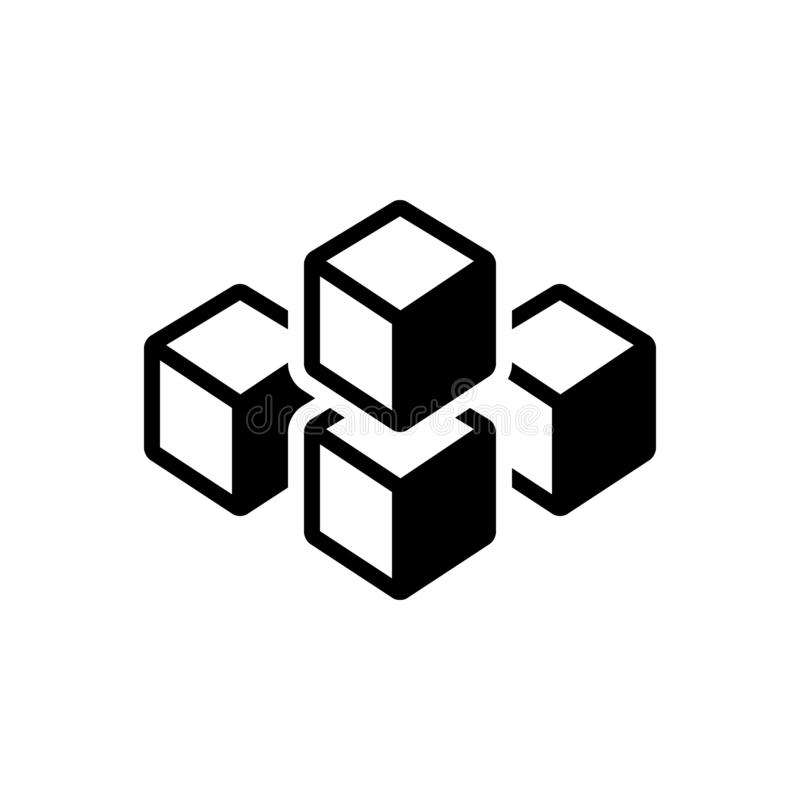 Icône solide noire pour le graphique de cube des places, de la technologie et du polygone illustration de vecteur