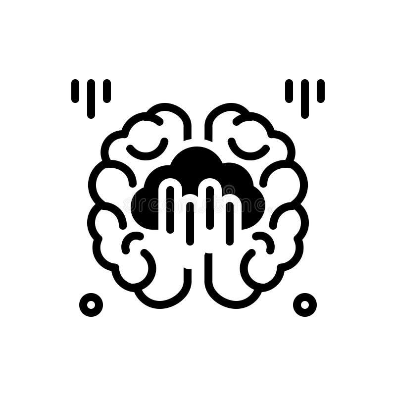 Icône solide noire pour le lavage de cerveau, l'esprit et l'idée illustration stock