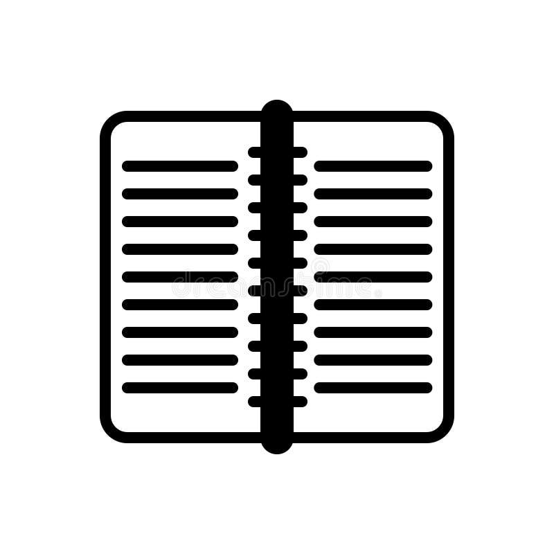 Icône solide noire pour le livre, la publication et la page de travail illustration stock