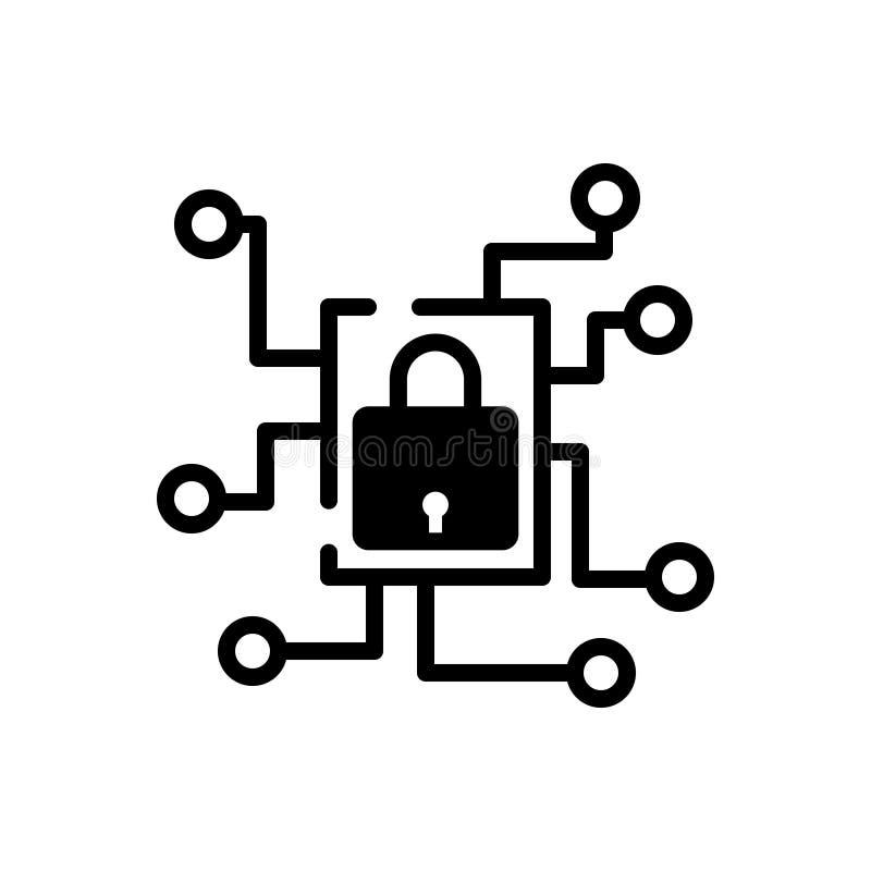 Icône solide noire pour le réseau privé, la technologie et l'appli illustration libre de droits