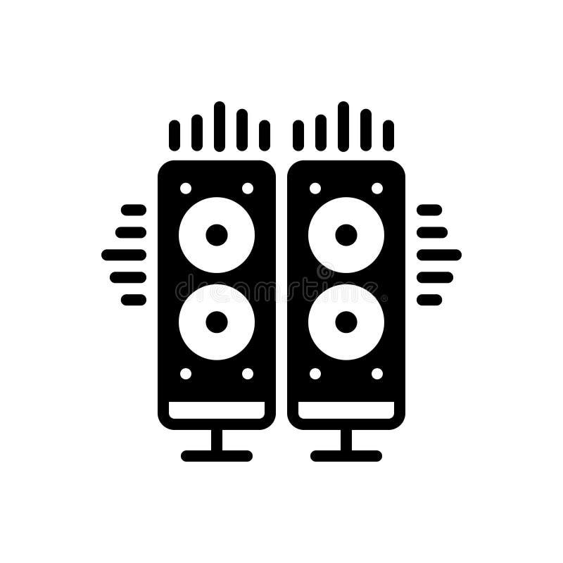 Icône solide noire pour le système, la musique et le haut-parleur illustration libre de droits