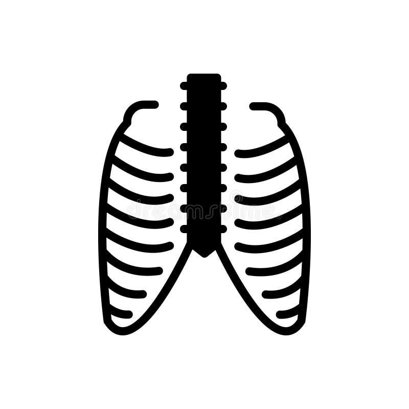 Icône solide noire pour le thorax, la cage thoracique et la douleur illustration libre de droits