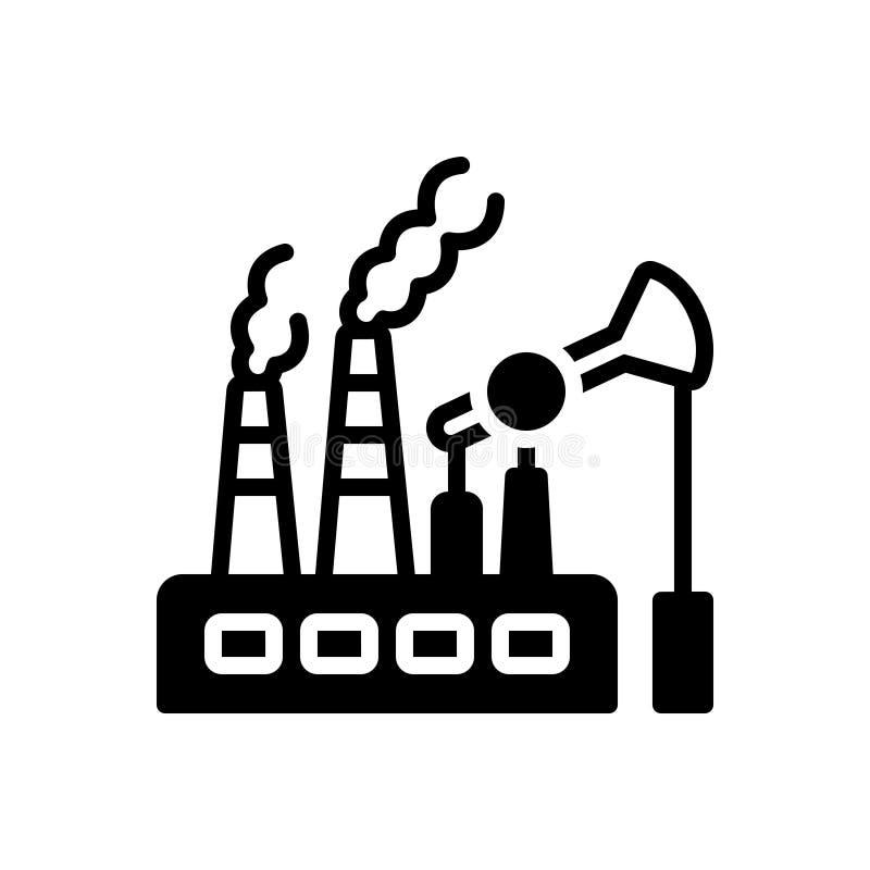 Icône solide noire pour les combustibles fossiles, le carburant et la pompe illustration stock
