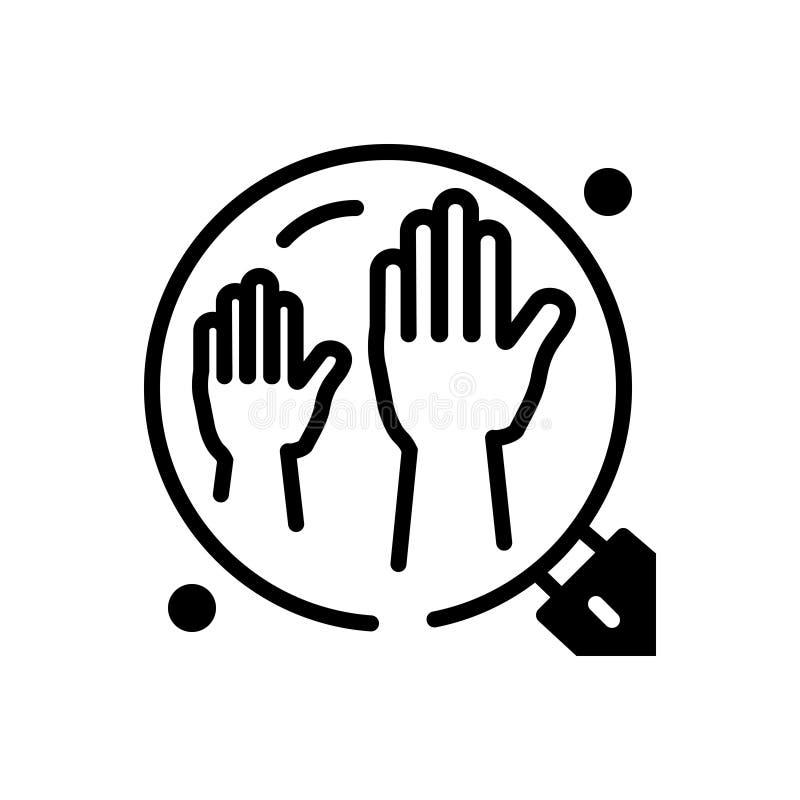 Icône solide noire pour les Enablers, le défenseur et le partisan illustration libre de droits