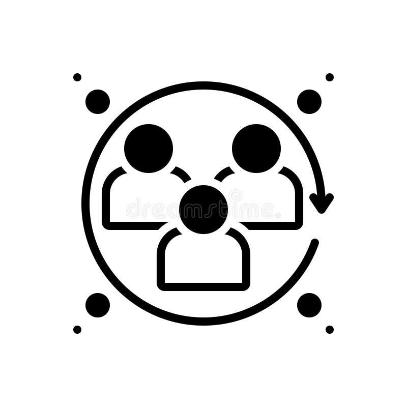 Icône solide noire pour les sciences humaines, l'humanité et les humains illustration de vecteur