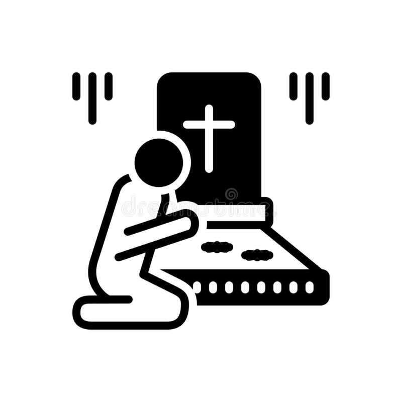 Icône solide noire pour privé, cimetière et enterrement illustration stock