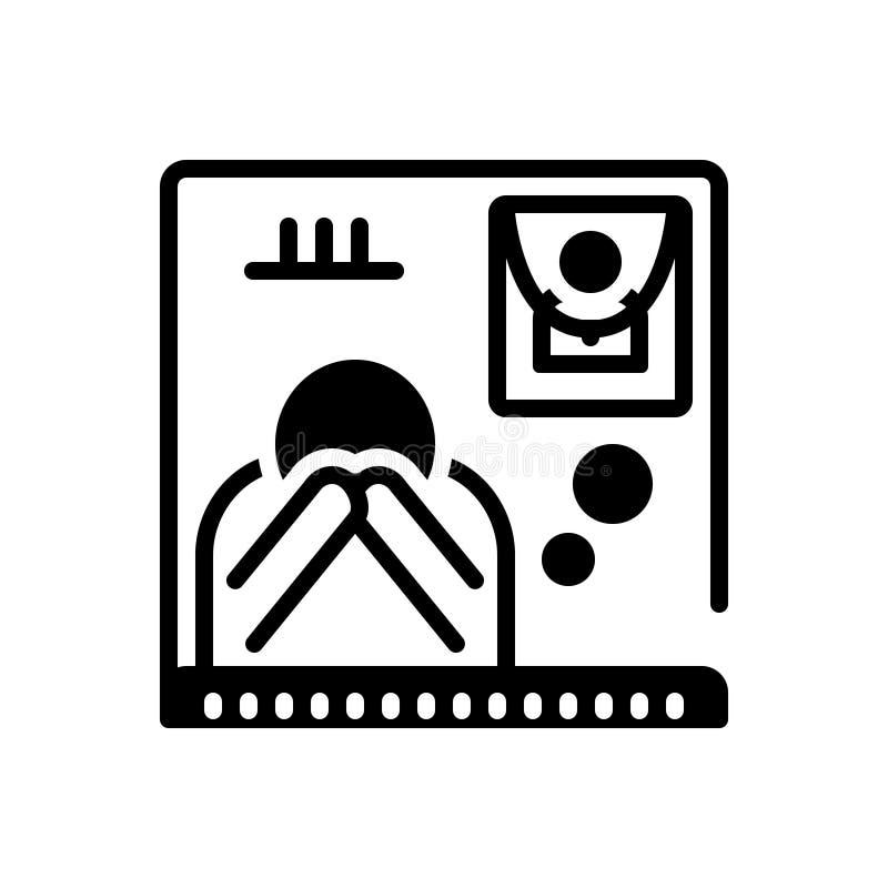 Icône solide noire pour privé, enterrement et exequies illustration libre de droits