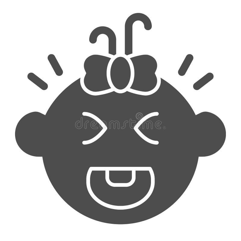 Icône solide pleurante de bébé Illustration de vecteur de cri d'enfant d'isolement sur le blanc Conception de style de glyph de v illustration stock