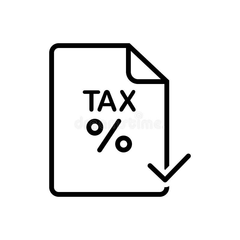 Icône solide pour l'impôt, payé noirs et l'audit illustration libre de droits