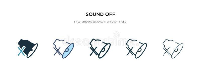 Icône Sound off dans une autre illustration du vecteur de style deux icônes vectorielles colorées et noires conçues en caractères illustration stock