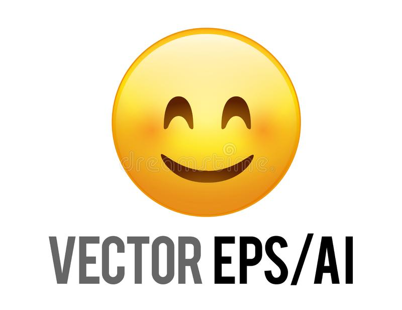Icône souriante heureuse jaune de visage de vecteur avec la joue rouge illustration de vecteur