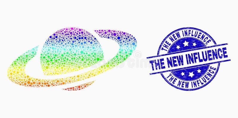 Icône spectrale de planète de Saturn de pixel de vecteur et affliger le nouveau joint de timbre d'influence illustration stock