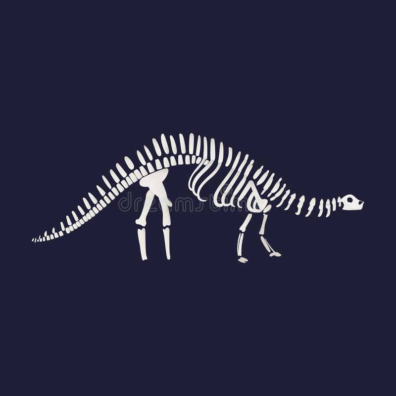 Icône squelettique de fossile de dinosaure de diplodocus de vecteur dessus illustration stock