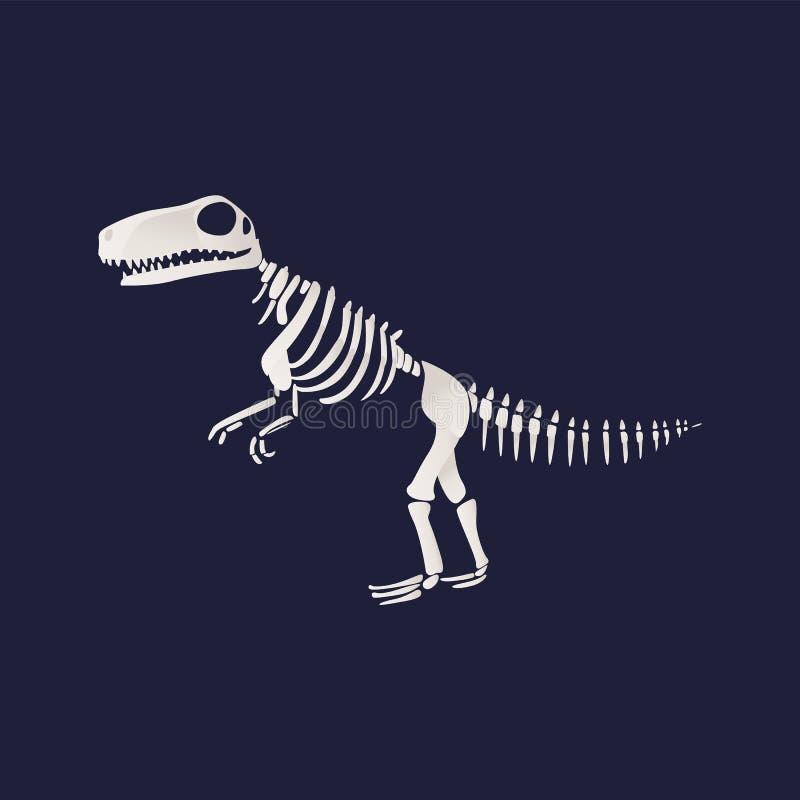 Icône squelettique de fossile de dinosaure de t-rex de vecteur sur le bleu illustration libre de droits