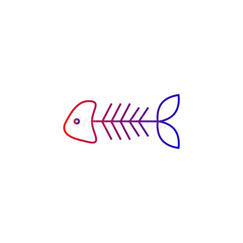 Icône squelettique de vecteur de poissons, os illustration de vecteur