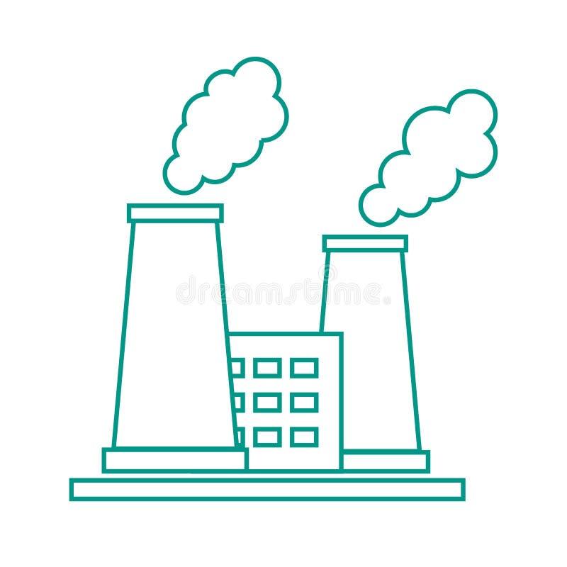 Icône stylisée de l'usine de raffinerie de pétrole avec les cheminées de tabagisme illustration de vecteur