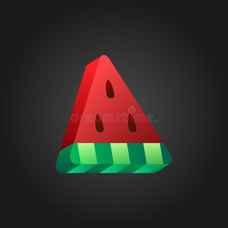 icône stylisée de la pastèque 3D sur le fond noir Illustration isométrique de pastèque de morceau Conception colorée illustration libre de droits
