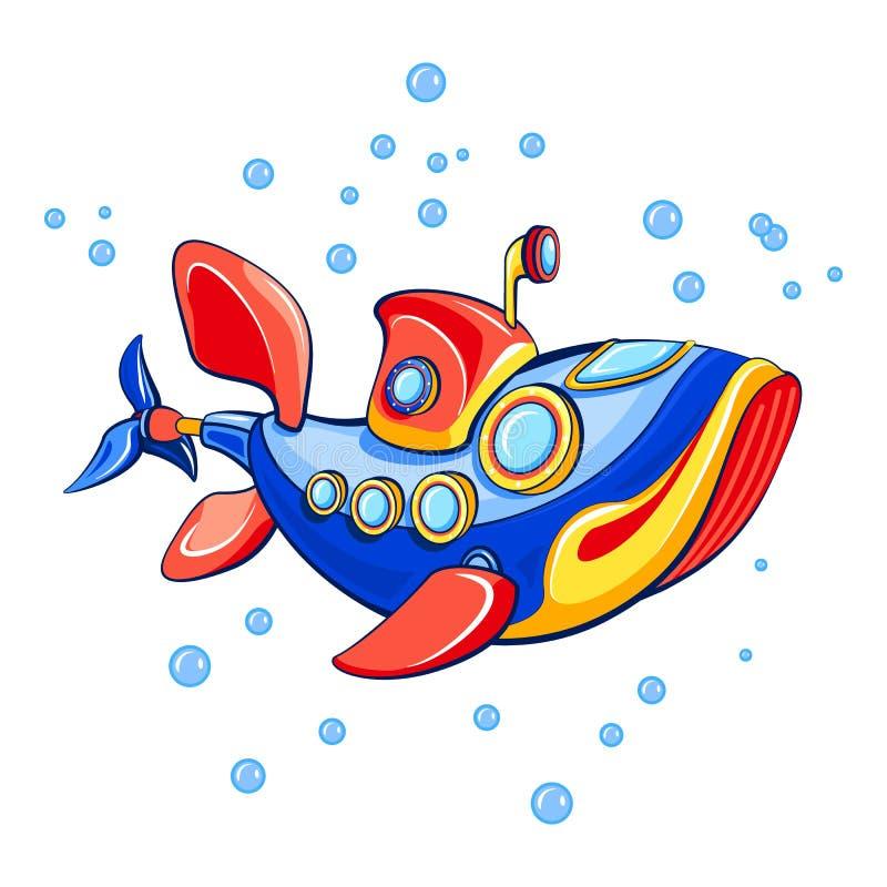 Icône submersible de poissons, style de bande dessinée illustration stock