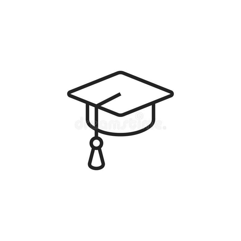 Icône, symbole ou logo de vecteur d'ensemble de chapeau d'obtention du diplôme illustration stock