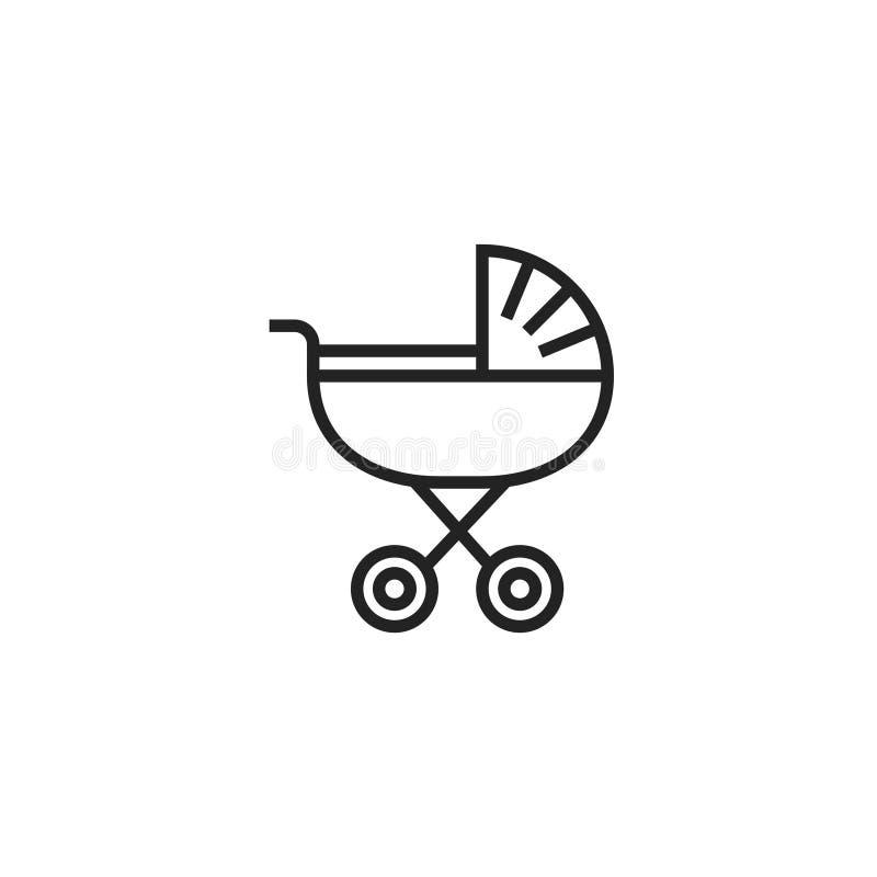 Icône, symbole ou logo de vecteur d'Oultine de boguet de bébé illustration de vecteur