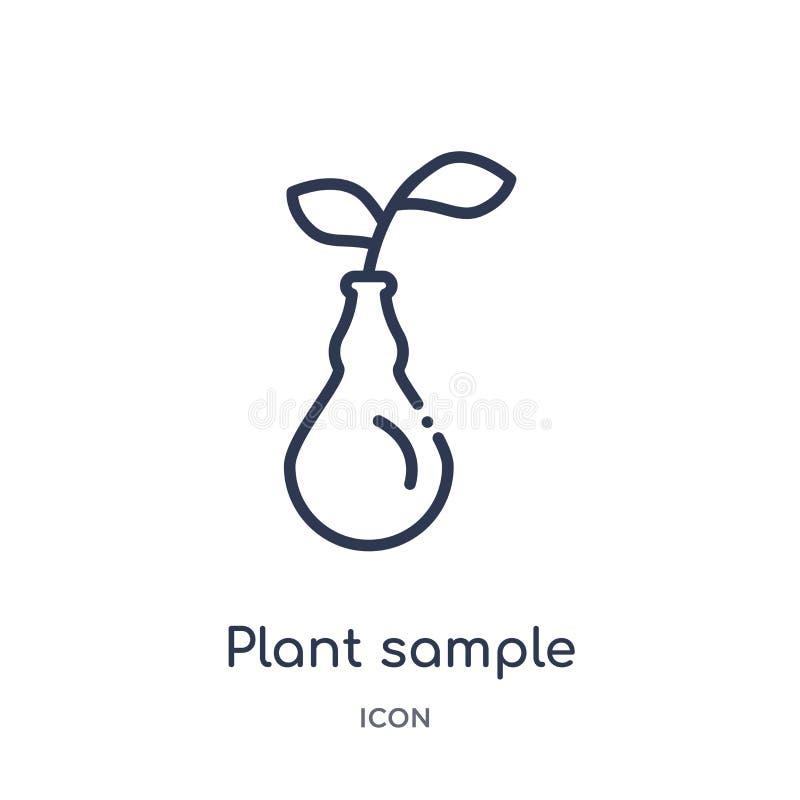 Icône témoin de plante linéaire de collection d'ensemble d'éducation Ligne mince icône témoin de plante d'isolement sur le fond b illustration de vecteur