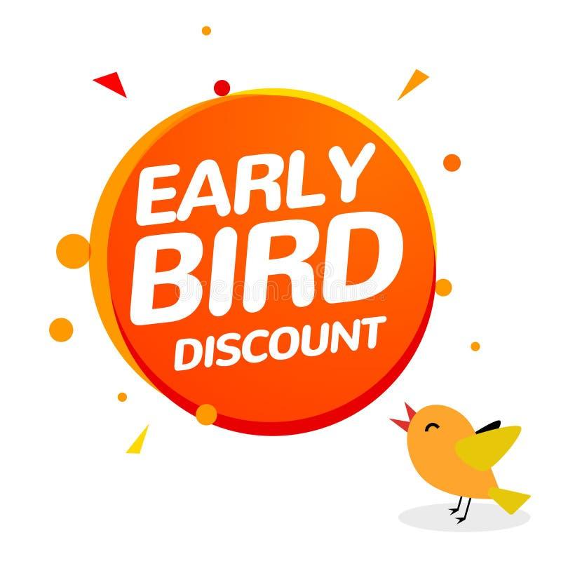 Icône tôt de vente d'offre spéciale de vecteur de remise d'oiseau Bannière tôt de signe de promo de bande dessinée d'icône d'oise illustration stock