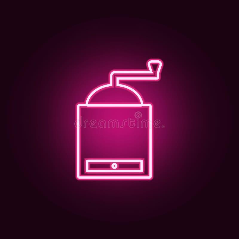 icône tenue dans la main de broyeur de café Éléments des outils de cuisine dans les icônes au néon de style Icône simple pour des illustration libre de droits