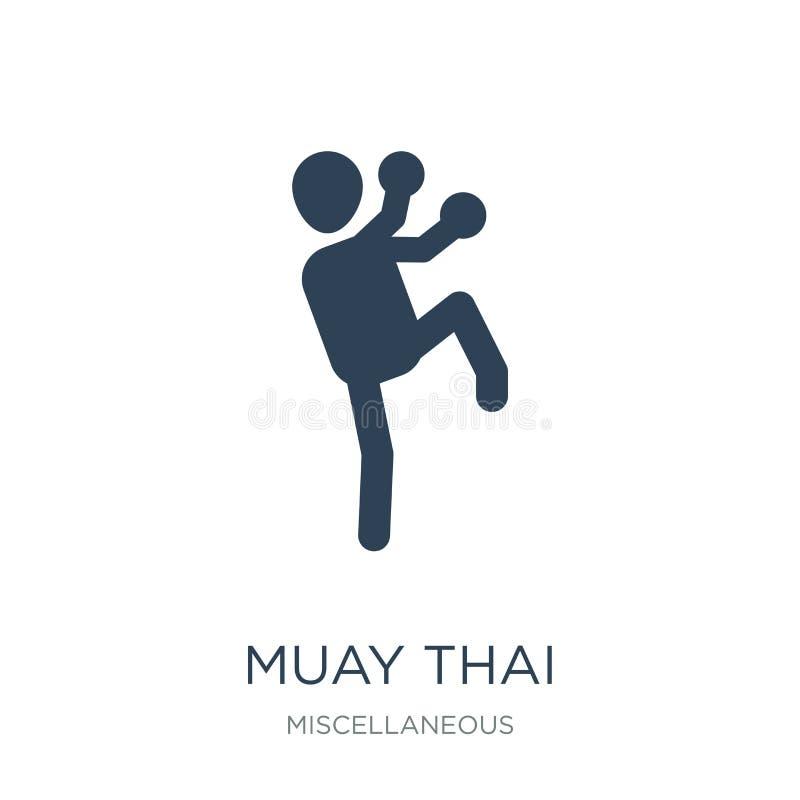icône thaïlandaise muay dans le style à la mode de conception icône thaïlandaise muay d'isolement sur le fond blanc appartement s illustration stock