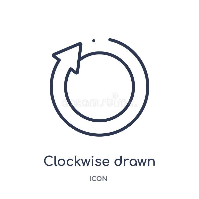 icône tirée dans le sens horaire de flèche de collection d'ensemble d'interface utilisateurs Ligne mince icône tirée dans le sens illustration de vecteur