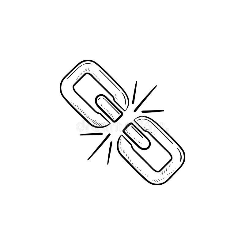 Icône tirée par la main cassée de griffonnage d'ensemble de maillon de chaîne illustration libre de droits