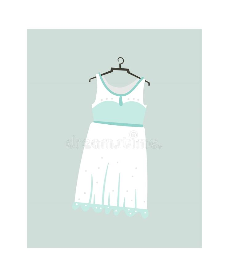 Icône tirée par la main d'illustrations de bande dessinée d'abrégé sur vecteur avec la robe de mariage d'isolement sur le fond bl illustration libre de droits