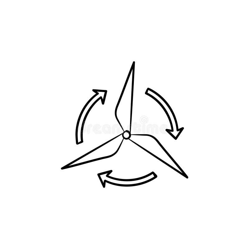 Icône tirée par la main de croquis de générateur de vent illustration de vecteur