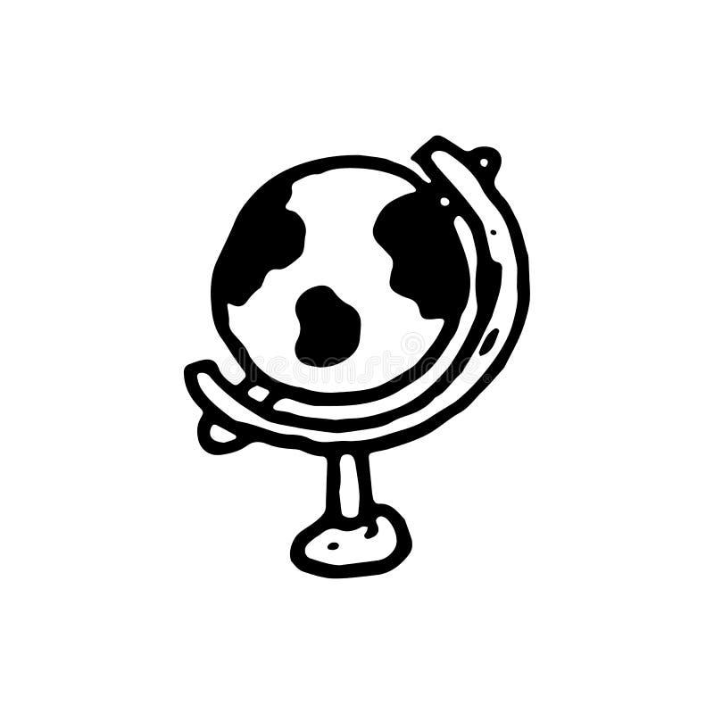 Icône tirée par la main de globe de griffonnage Croquis noir tiré par la main Symbo de signe illustration de vecteur