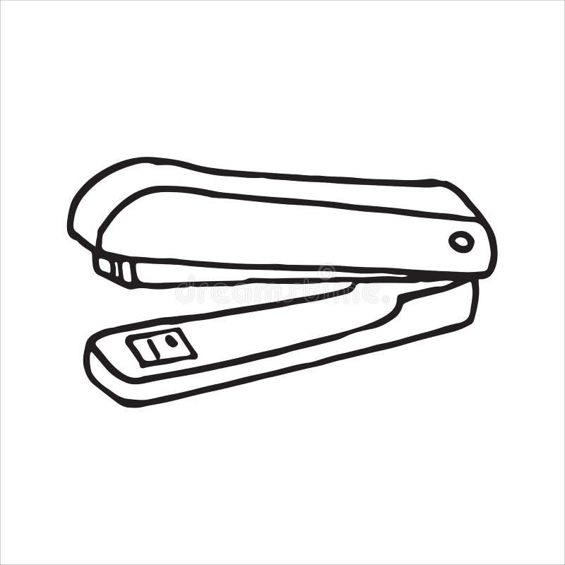 Icône tirée par la main de griffonnage d'agrafeuse illustration stock