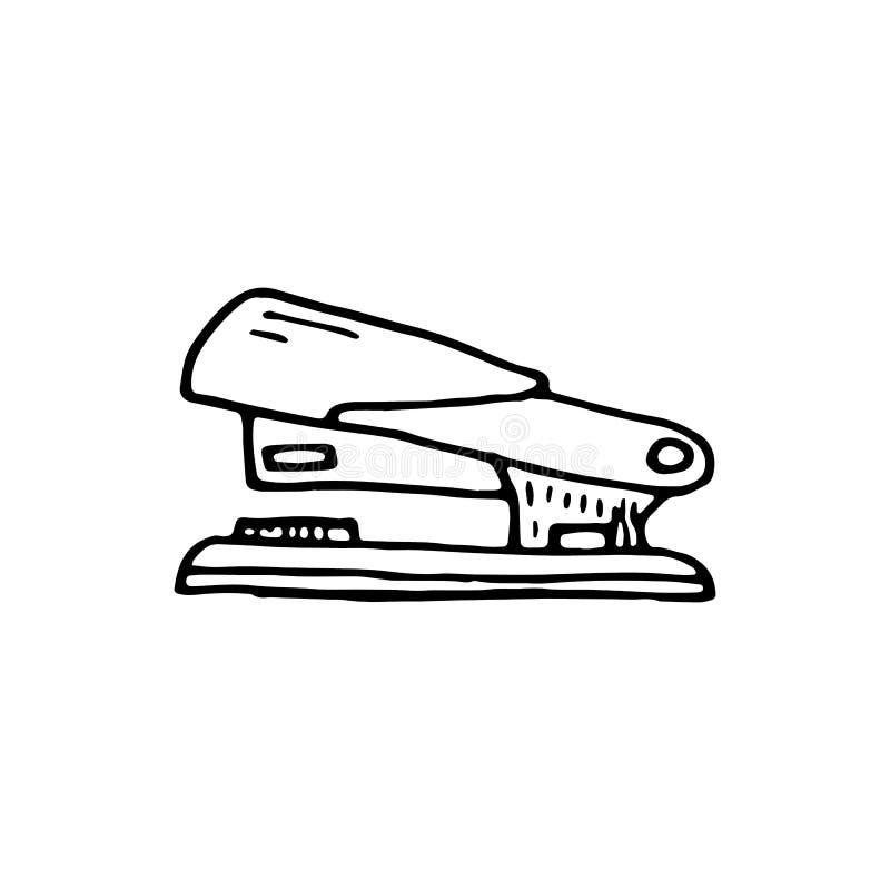 Icône tirée par la main de griffonnage d'agrafeuse Croquis noir tiré par la main r illustration stock