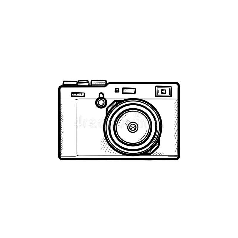 Icône tirée par la main de griffonnage d'ensemble d'appareil-photo simple illustration libre de droits