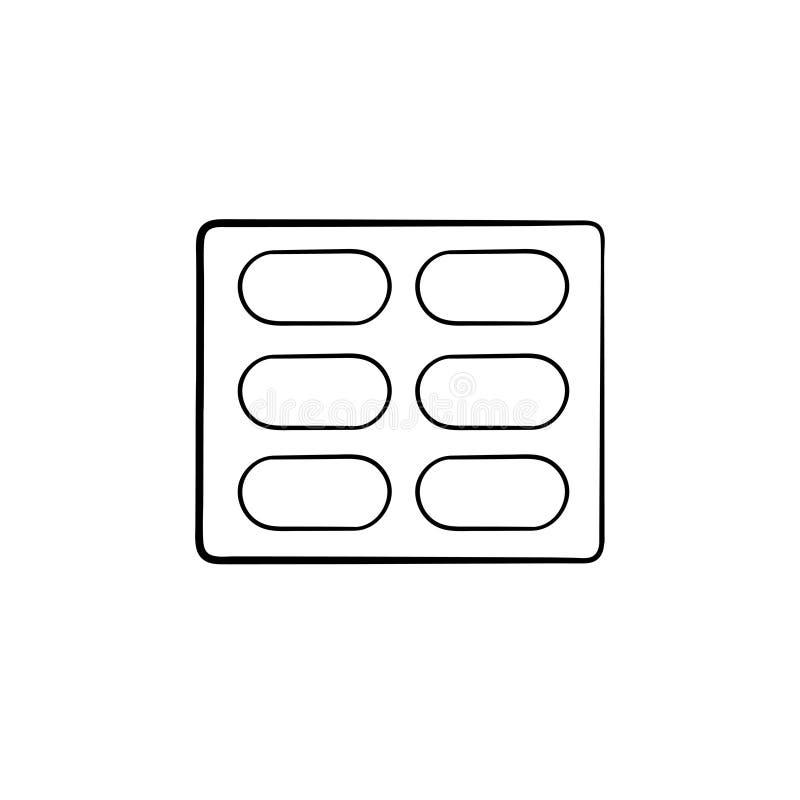 Icône tirée par la main de griffonnage d'ensemble de boursouflure de pilules illustration de vecteur