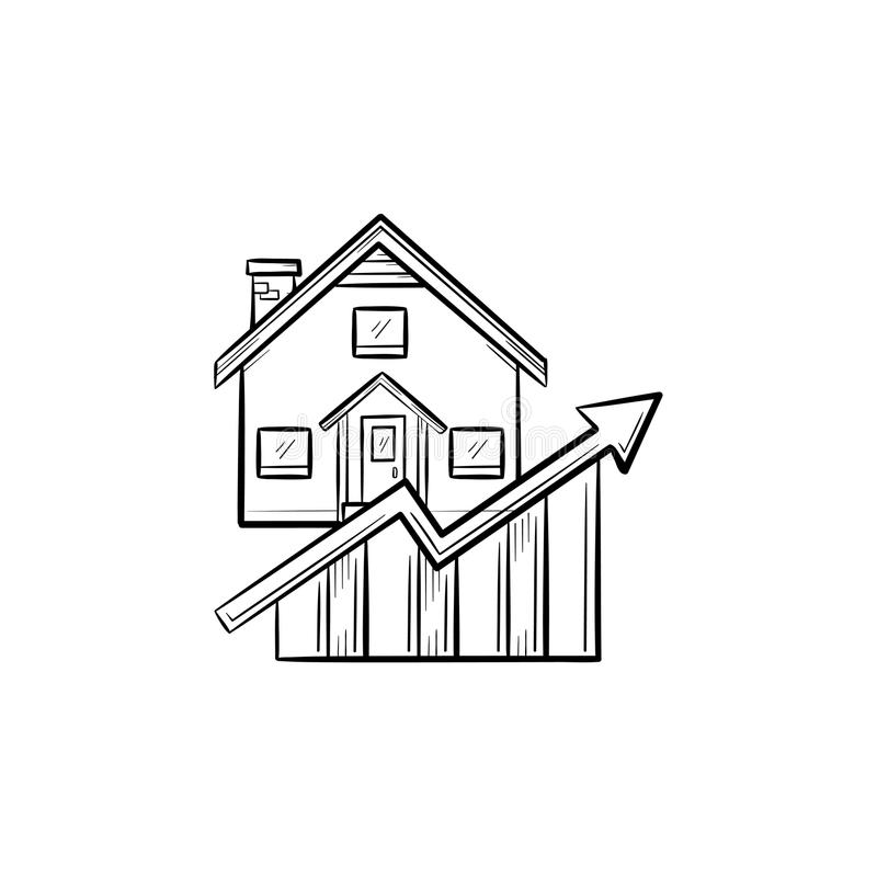 Icône tirée par la main de griffonnage d'ensemble de croissance de marché de l'immobilier illustration stock