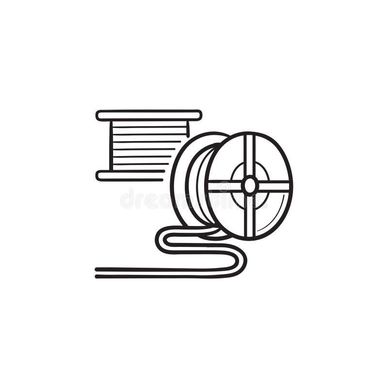 icône tirée par la main de griffonnage d'ensemble de filament de l'impression 3D illustration stock